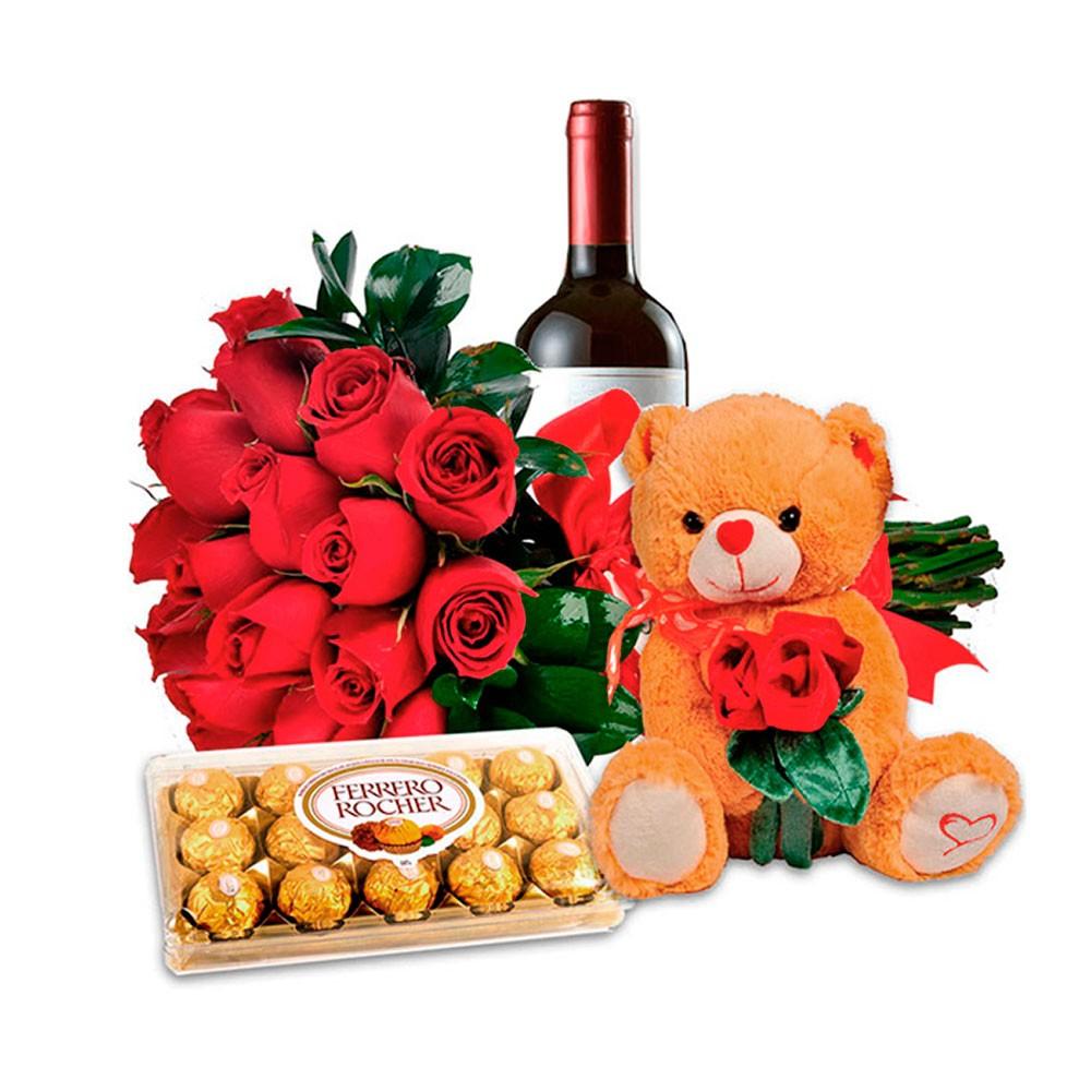 Buquê de Rosas Amor completo com Flores Pelúcia, vinho e bombons - Uniflores