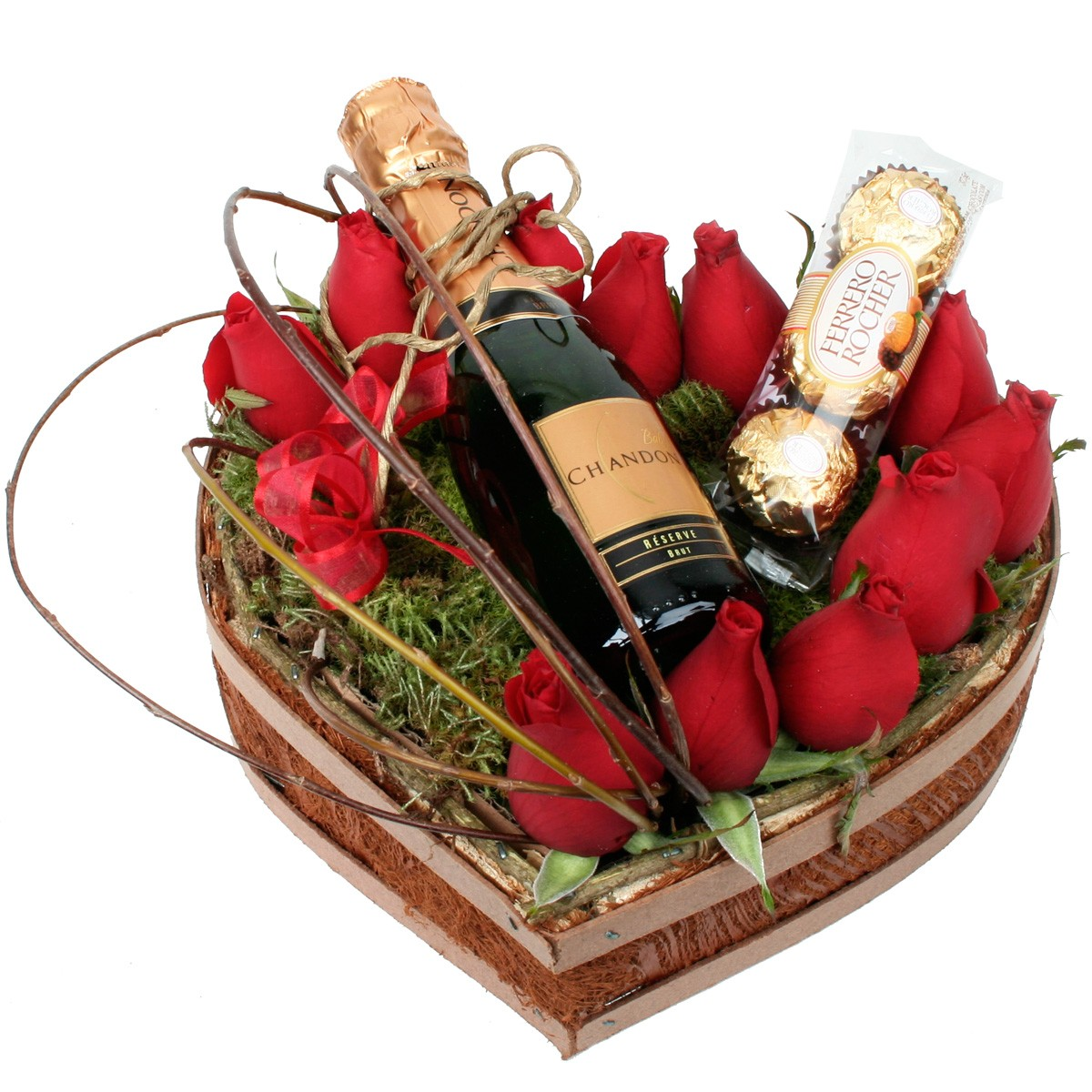 Arranjo Passion Rosas, vinho espumante e bombons