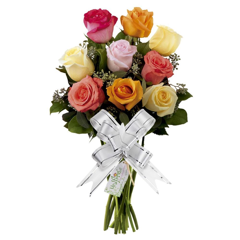 Buquê com 9 rosas coloridas