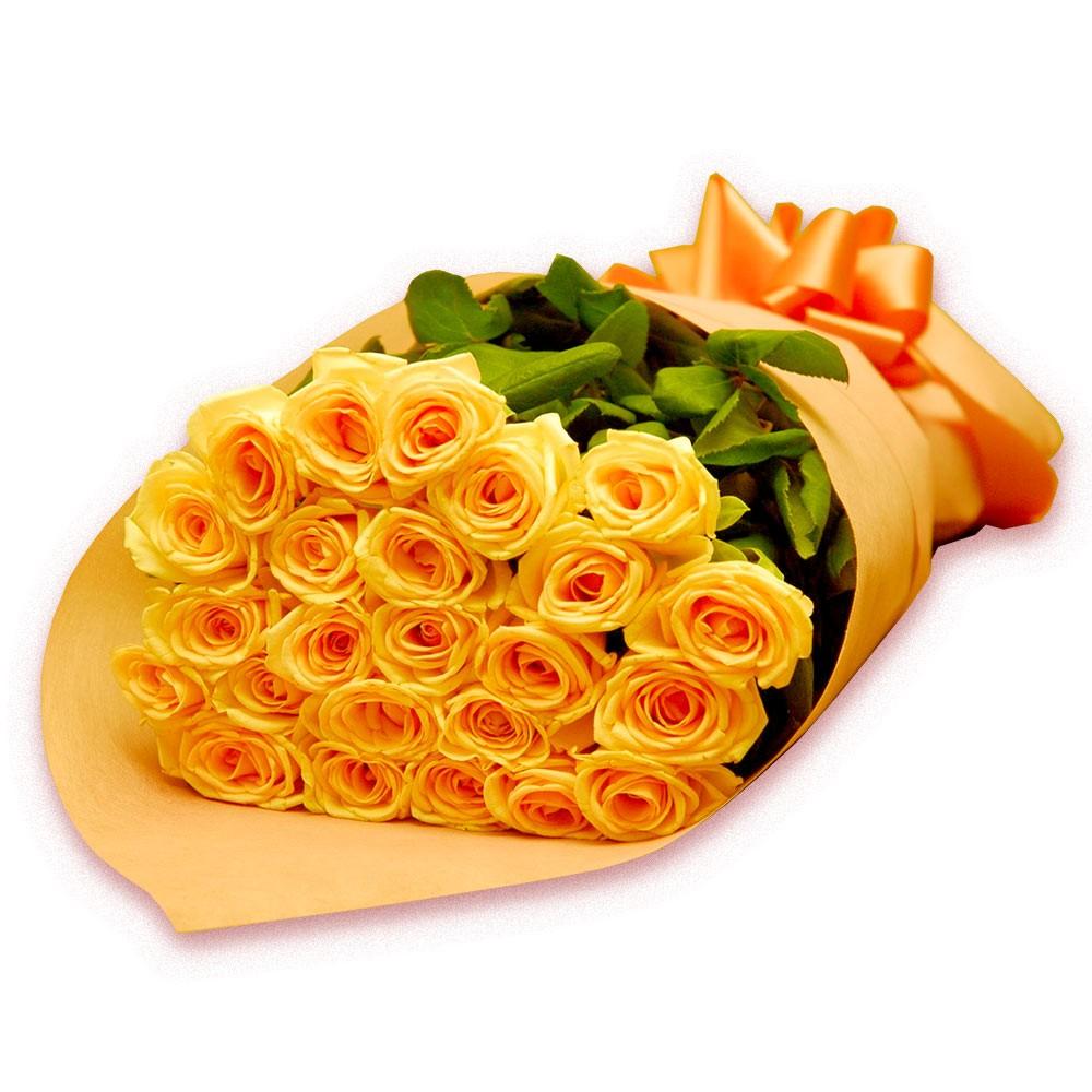 Buquê luxo de 24 rosas amarelas