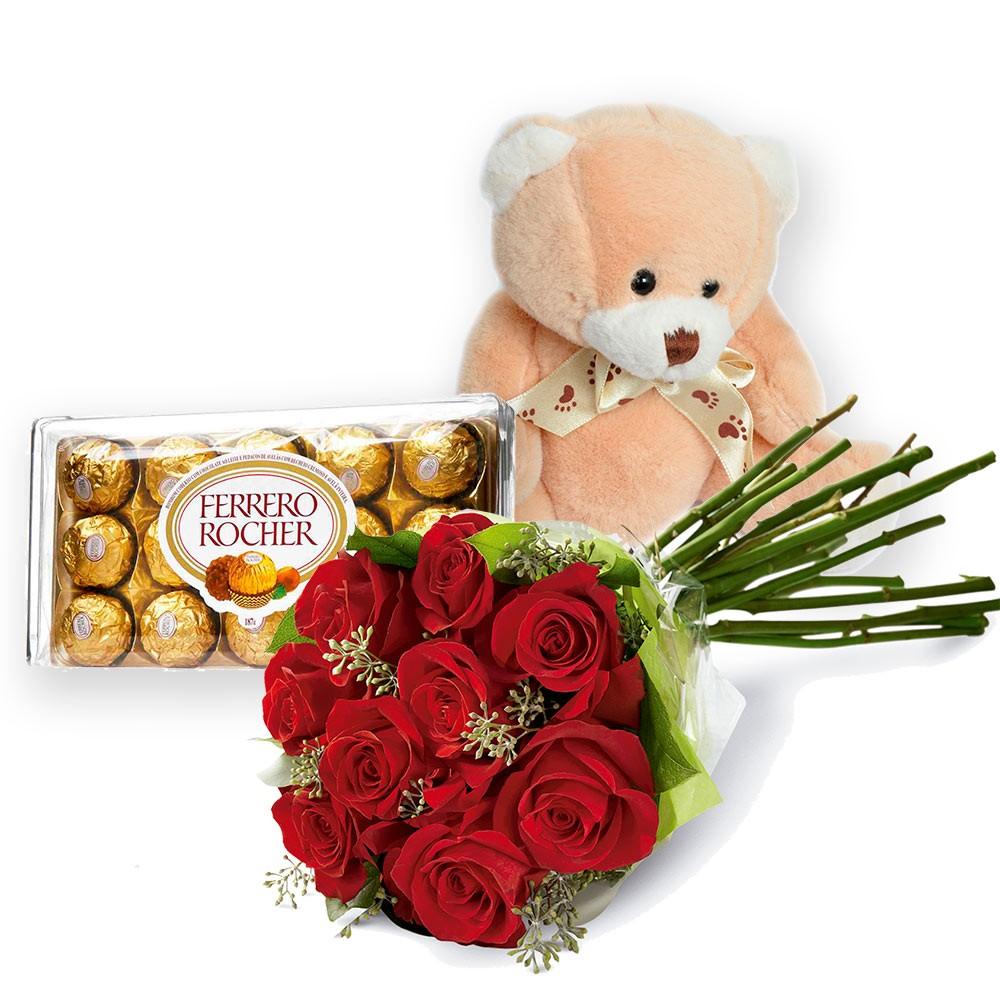 Flores com bombons e urso de pelúcia