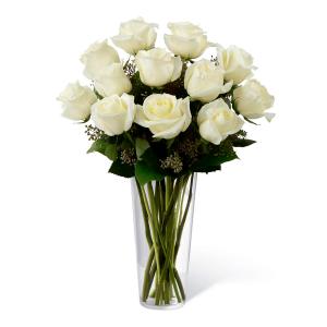 Puro Amor Luxo: Buquê com 12 rosas brancas no vaso