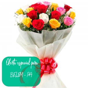 Buquê de Flores Carinho das Rosas Colorido Uniflores