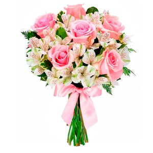 Bouquet of charming flowers in roses