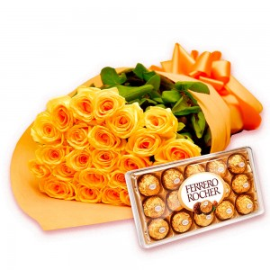 Buquê luxo de rosas amarelas com Bombons