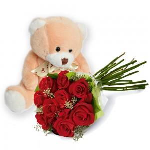 Buquê de rosas com Pelúcia