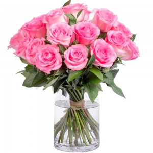 Buquê Tradition Pink Roses no Vaso de Vidro