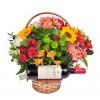 Cesta Luxo de Flores com Vinho