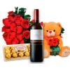 Buquê de Rosas Amor completo com Flores Pelúcia, vinho e bombons