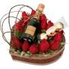 Arranjo Passion Rosas, vinho espumante e bombons - Uniflores
