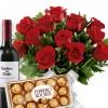 Buquê de Flores Tradition 12 Rosas com Bombons e Vinho