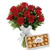 Buque 12 Rosas Vermelhas com Chocolates