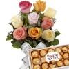 Buque 9 Rosas Coloridas com Bombons