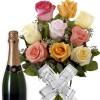 Buque 9 Rosas Coloridas e Espumante
