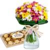 Buquê de Margaridas Coloridas com Bombons - Flores do Campo