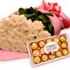 Buquê Luxo de Rosas Brancas com Chocolate