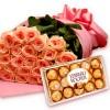 Buquê Luxo de Rosas Salmão com Chocolate