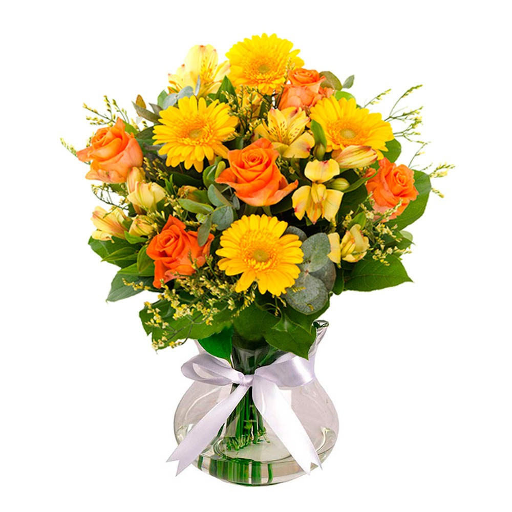 Buque Sinfonia Em Amarelo Floricultura Uniflores Cestas E Flores