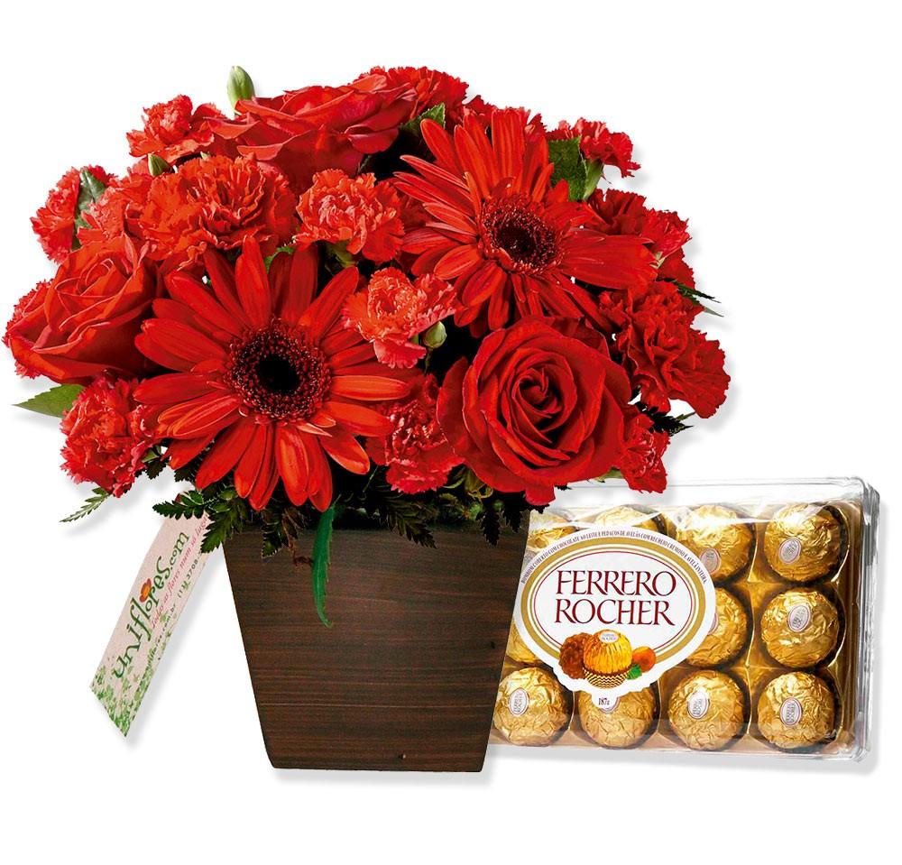 Muitas vezes Arranjo com Chocolate e flores Amor Perfeito HO43