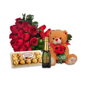 Combo Amor Completo: Flores, Baby Chandon e Pelúcia