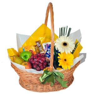 Cesta Café da Manhã Feliz Luxo com Frutas e Flores