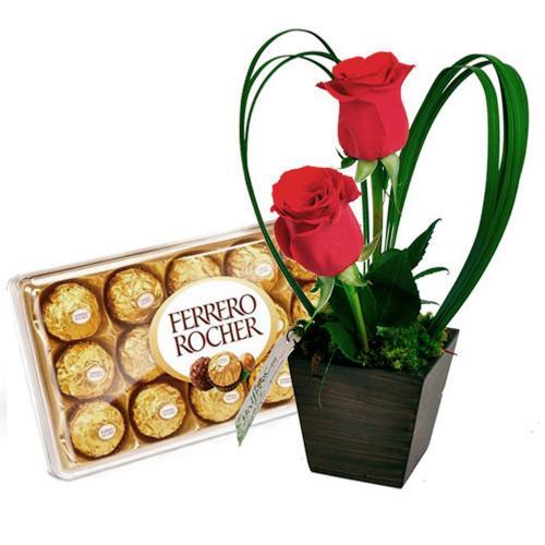 Encanto de Rosas e Chocolates Ferrero Rocher
