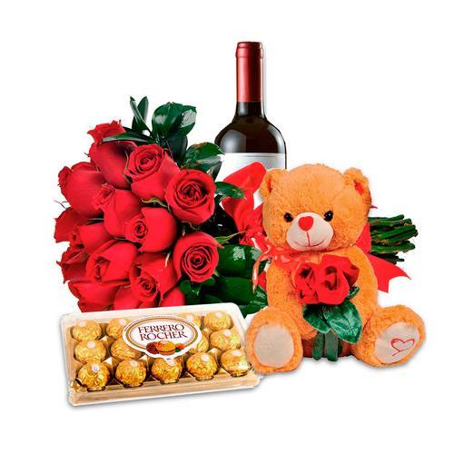 Combo Amor Completo: Flores com Urso de Pelúcia, Chocolates e Vinho