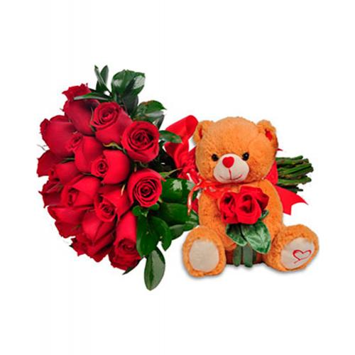 Amor Completo: Flores com Urso de Pelúcia
