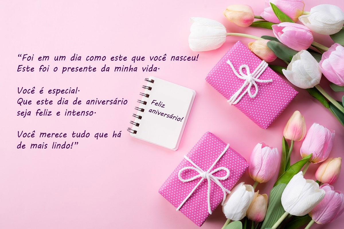 Mensagens de aniversario com flores bolo